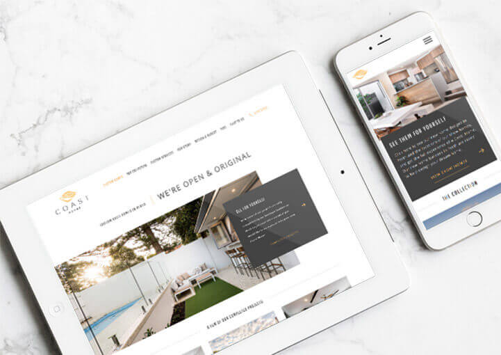 coast homes website mockup tablet view