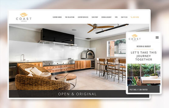 Coast Homes website screenshots