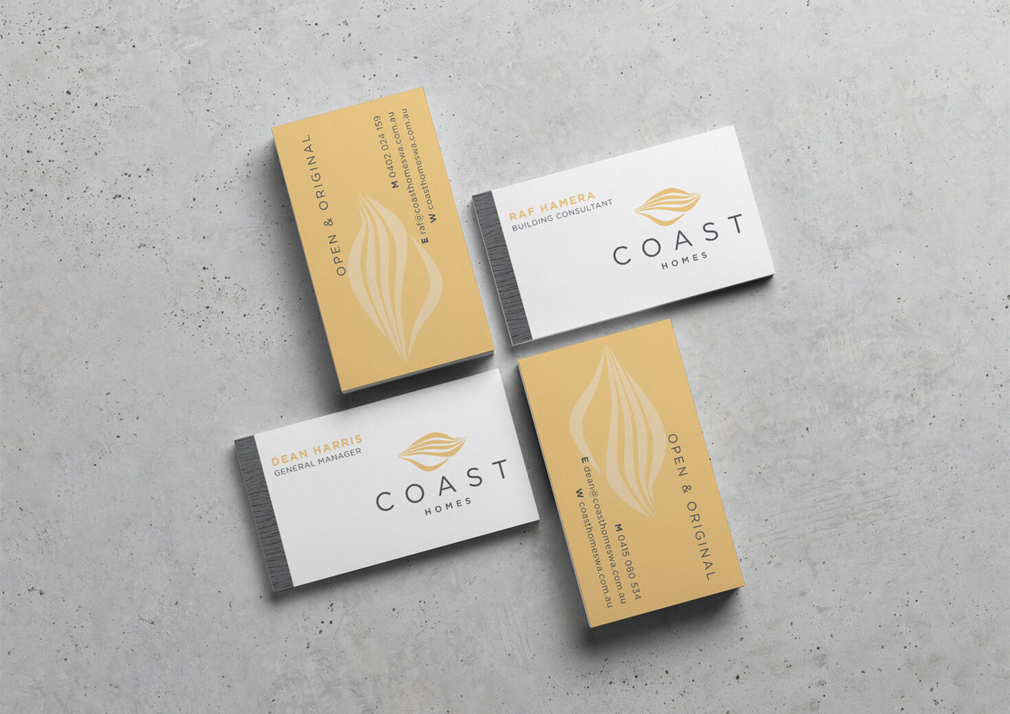 Coast Homes business cards