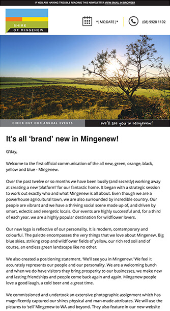 screenshot of Mingenew website on mobile