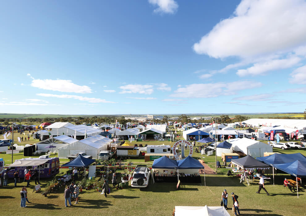 Mingenew turf club event with tents set up outdoor