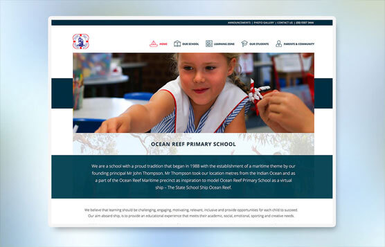 Ocean Reef Primary School website mock up for desktop