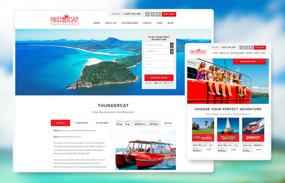 Red Cat Adventures website mock up for desktop and tablet