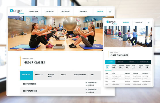 Surge Fitness website screenshots